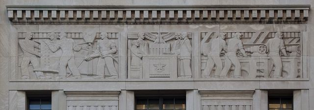 Exterior bas-relief, Theodore Levin United States Courthouse, Detroit Federal Building, Detroit, Michigan