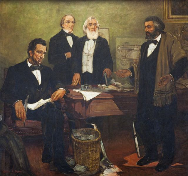 """""""Frederick Douglass appealing to President Lincoln and his cabinet to enlist Negroes,"""" mural by William Edouard Scott, at the Recorder of Deeds building, built in 1943. 515 D St., NW, Washington, D.C."""