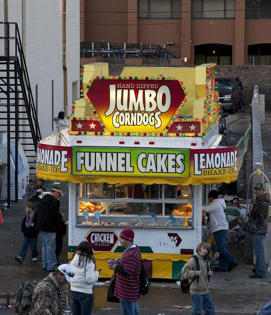 Funnel Cakes are available in many flavors at the Mardi Gras celebration in Mobile, Alabama