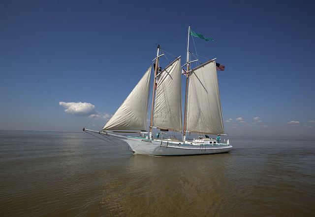 Joshua is a classic 72' wooden schooner sailing on Mobile Bay, Alabama, under the command of Captain Carol Bramblett