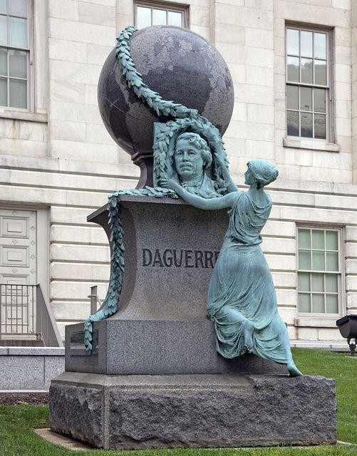 Louis-Jacques-Mande Daguerre statue, at the Smithsonian Donald Reynolds Center for American Art and Portraiture, 7th and F St., NW, Washington, D.C.