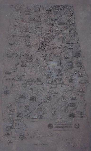 Map of Alabama sculpted by Gregg LeFevre and Jennifer Andrews in 2005 located in front of the Alabama Department of Archives and History, Montgomery, Alabama