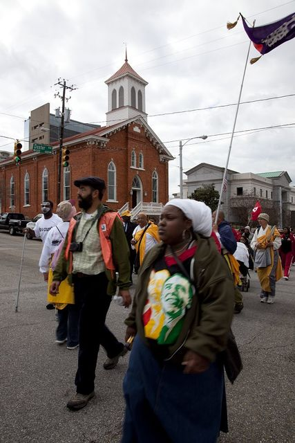 March from Selma to Montgomery recreating the important Civil Rights event that happened in 1965, ended with this walk up to the Alabama Capitol in Montgomery and passed by the Dexter Avenue Memorial King Baptist Church where Martin Luther King, Jr., preached