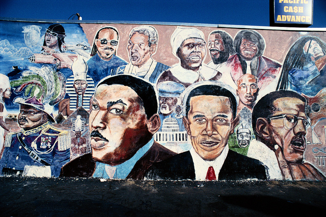 MLK, Jr., Barack Obama, and Malcolm X in a mural by Shyaan Khufu, Master Burger, 4423 S. Western Ave., Los Angeles, California, 2010
