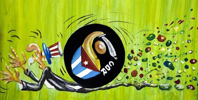 Oil painting depicting the United States and Cuba relationship, Havana, Cuba
