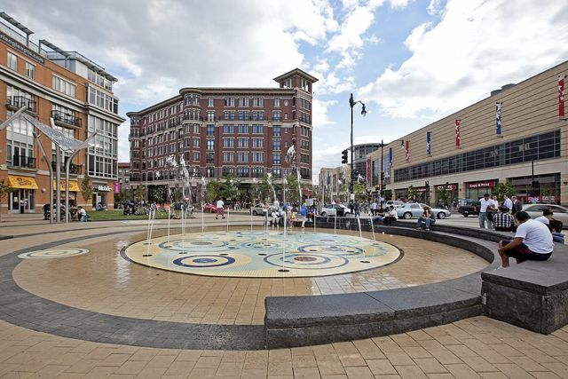 Plaza and fountain, Columbia Heights near 14th and Monroe St., NW, Washington, D.C.