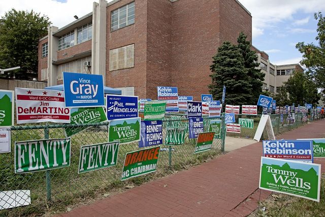 Political campaign posters at the Hine Junior High School, 8th St. near intersection with D St., SE, Washington, D.C.