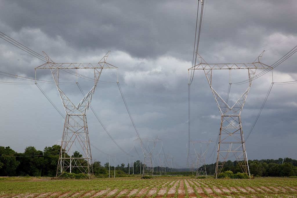 Power lines near Athens, Alabama, 15 miles from the