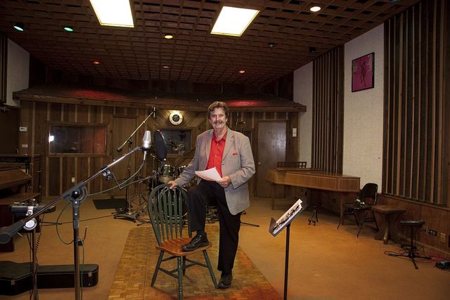 Rick Hall, founder of FAME Recording Studios, sitting in the FAME studio in Muscle Shoals, Alabama