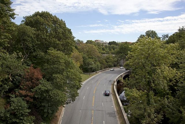 Rock Creek Parkway as seen from Dumbarton Bridge, Q St. near intersection with 23rd St., NW, Washington, D.C.
