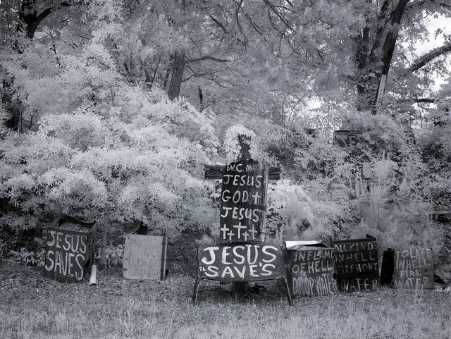 Rough wooden crosses and peeling hand-lettered signs bearing Bible scripture fragments are nailed to fences, trees, and each other in the late W.C. Rice's stark Cross Garden, Prattville, Alabama