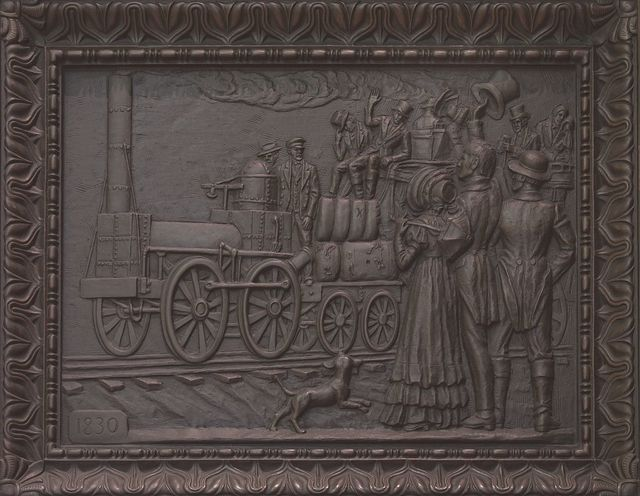 Scenes from Alabama on bronze doors at Alabama Department of Archives and History, Montgomery, Alabama