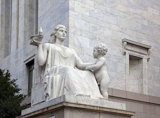 """Spirit of Justice"" statue at the Rayburn Building, Independence Ave., SE, Washington, D.C."