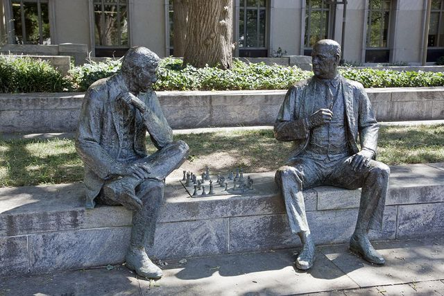 Statue of Chess players, at the John Marshall Memorial Park, NW, Washington, D.C.