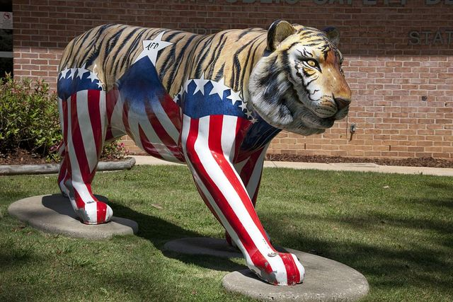 The Tiger is the Auburn University mascot. This is a beautiful one in front of the fire station in Auburn, Alabama