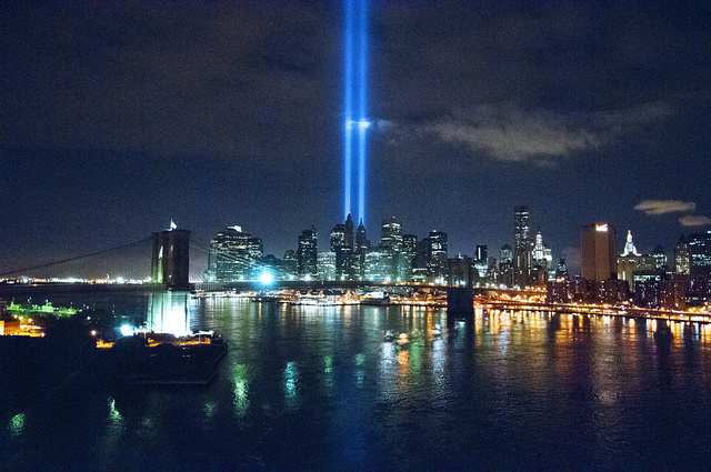 View from the Manhattan Bridge, Sept. 11, 2010, taken at 3 a.m., this photograph shows the Tribute in Light, an art installation near the World Trade Center site commemorating the 9/11 attacks