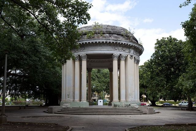 View of gazebo in park on 5th Avenue between 24th and 26th Streets in the Miramar area in Havana, Cuba