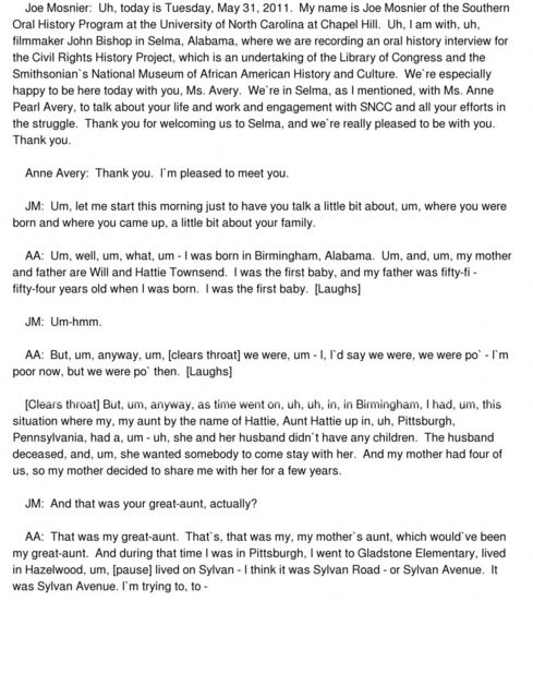Anne Pearl Avery oral history interview conducted by Joseph Mosnier in Selma, Alabama, 2011-05-31.