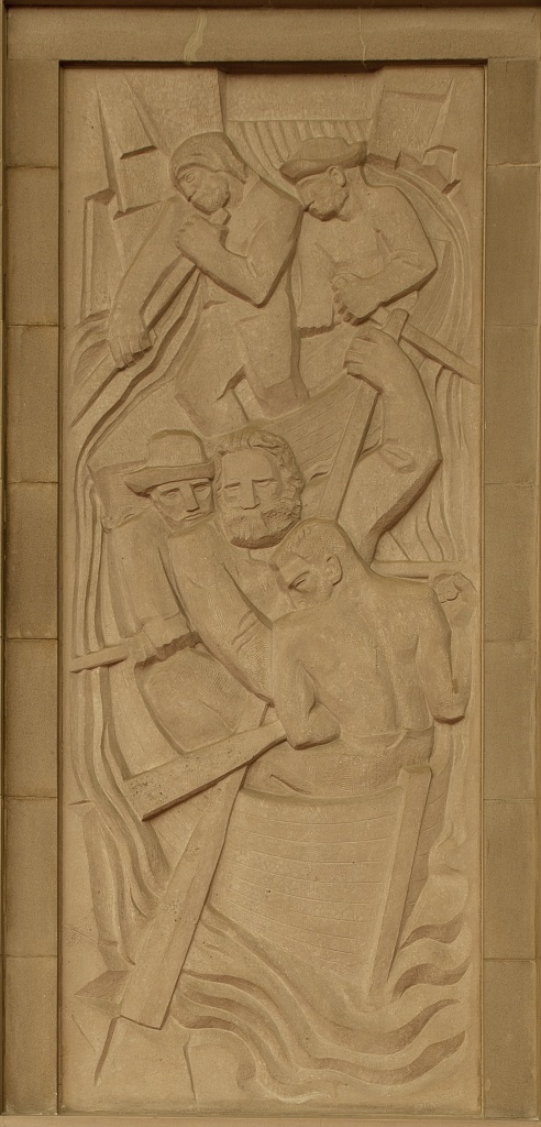 """Bas-relief """"Powell Exploring the Colorado,"""" by Ralph Stackpole at the Department of Interior, Washington, D.C."""