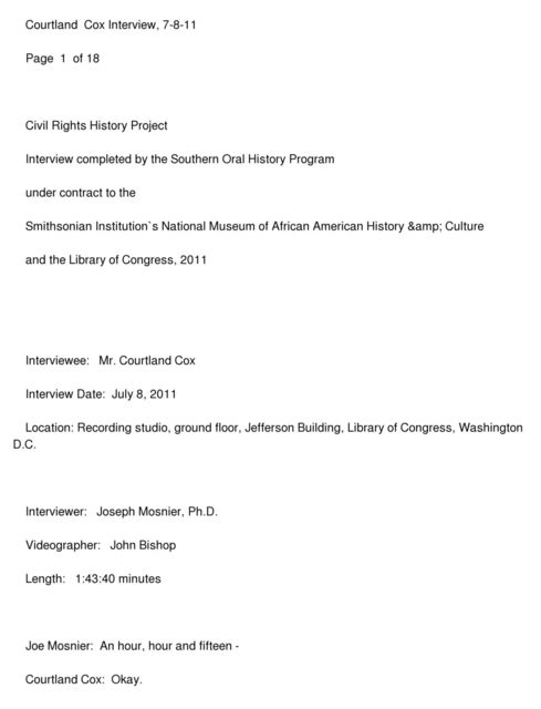 Courtland Cox oral history interview conducted by Joseph Mosnier in Washington, D.C., 2011-07-08.
