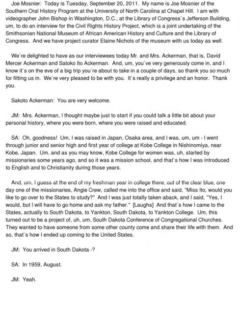 David Mercer Ackerman and Satoko Ito Ackerman oral history interview conducted by Joseph Mosnier in Washington, D.C., 2011-09-20.