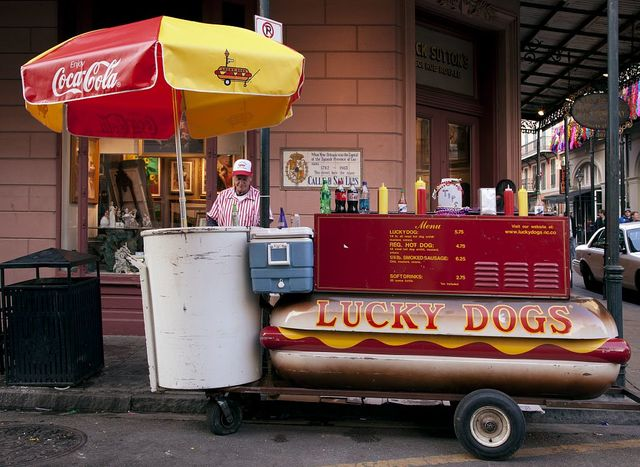 Lucky Dog Hot Dog stands are everywhere in the French Quarter of New Orleans, Louisiana