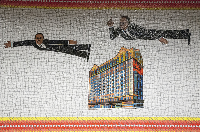 Malcolm X and Martin Luther King fly over the Theresa Hotel, in a mural by Faith Ringgold, 1996, at West Side IRT Station, 125th Street, Harlem, 2011