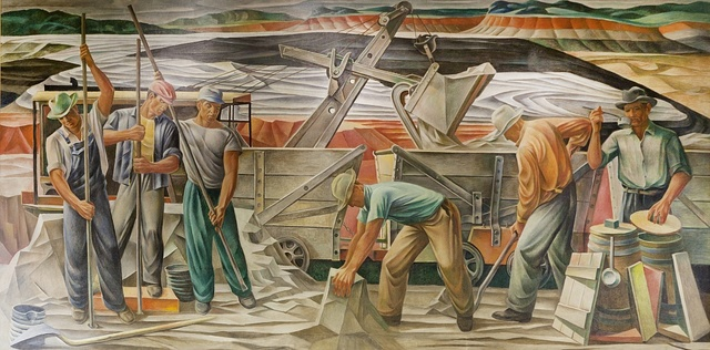 "Mural ""Bauzite Mining,"" by Julius Woeltz, located in the Saline County Courthouse in Benton, Arkansas"