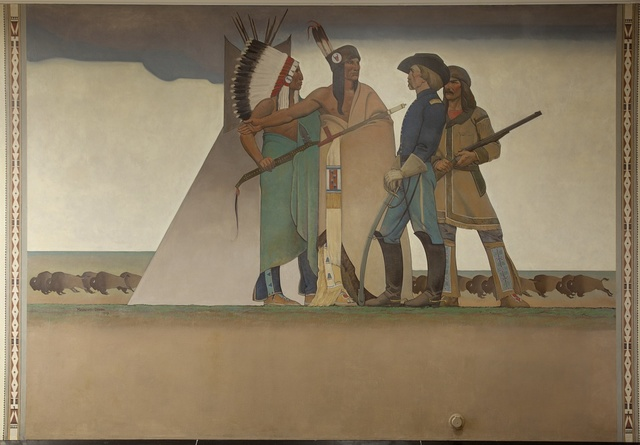 Mural: Bureau of Indian Affairs: Indian & Soldier, by Maynard Dixon at the Department of Interior, Washington, D.C.