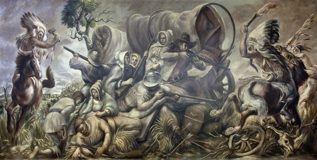 "Mural ""Covered wagon attacked by indians,"" by William C. Palmer at the Ariel Rios Federal Building, Washington, D.C."