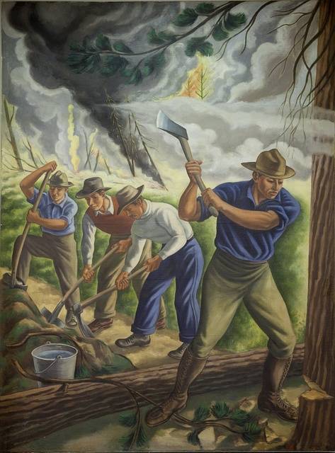 """Mural """"Fighting Forest Fire,"""" by Ernest Fiene at the Department of Interior Building, Washington, D.C."""