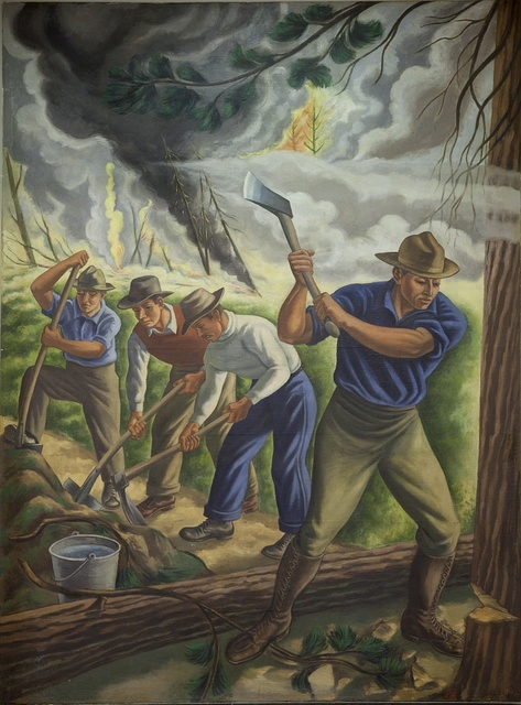 """Mural: """"Fighting Forest Fire,"""" by Ernest Fiene at the Department of Interior, Washington, D.C."""