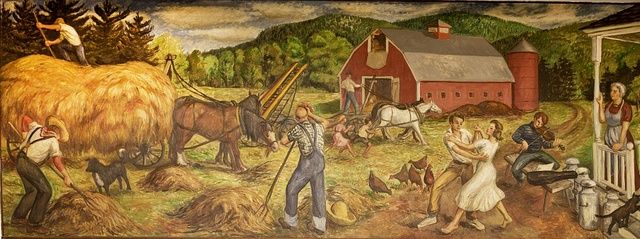 """Mural """"Haying"""" by Philip Von Saltza, located in Federal Building, St. Albans, Vermont"""