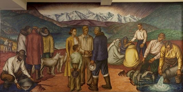 """Mural """"Insular Possession: Alaska,"""" by James Michael at the Department of Interior, Washington, D.C."""