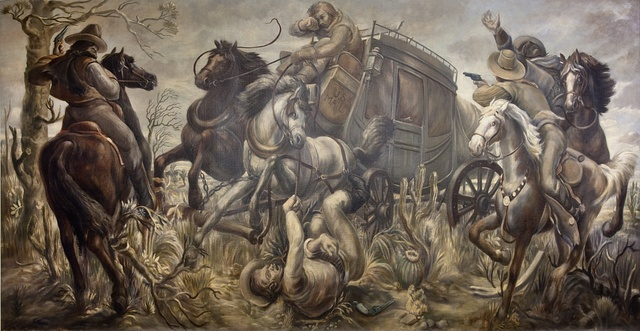 """Mural """"Mail coach attacked by bandits,"""" by William C. Palmer at the Ariel Rios Federal Building, Washington, D.C."""