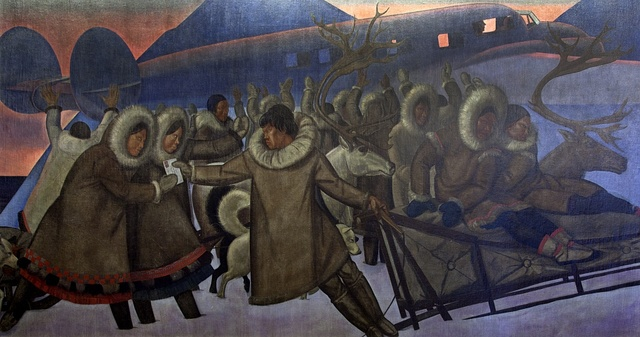 "Mural ""Mail service in the Arctic,"" by Rockwell Kent at the Ariel Rios Federal Building in Washington, D.C."