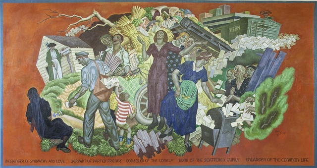 """Mural """"Messanger of sympathy & love, servant of parted friends, consoler of the lonely, bond of the scattered family, enlarger of the common life, by Eugene Francis Savage at the Ariel Rios Federal Building, Washington, D.C."""