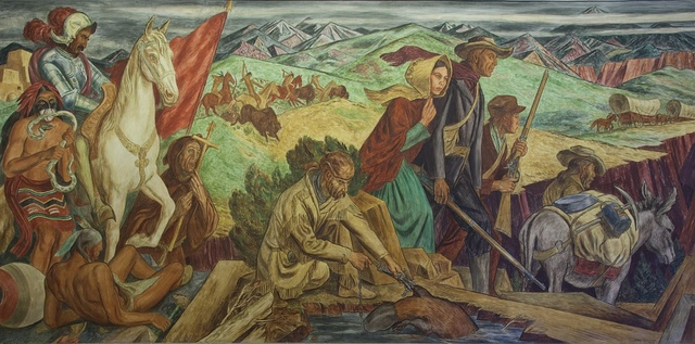 """Mural """"Opening of the Southwest,"""" by Ward Lockwood at the Ariel Rios Federal Building, Washington, D.C."""