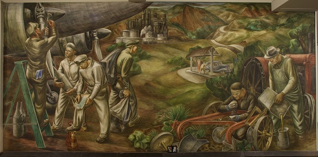 Mural: Petroleum Industry - Distribution & Use, by Edgar Britton at the Department of Interior, Washington, D.C.