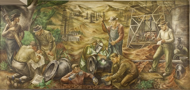 """Mural """"Petroleum Industry: Production,"""" by Edgar Britton at the Department of Interior Building, Washington, D.C."""