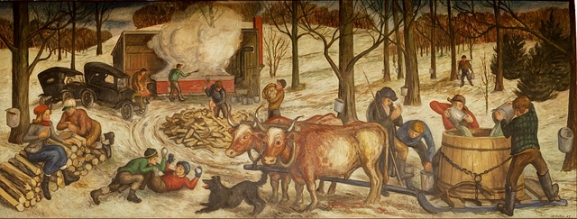 """Mural """"Sugaring Off"""" by Philip Von Saltza, located in Federal Building, St. Albans, Vermont"""