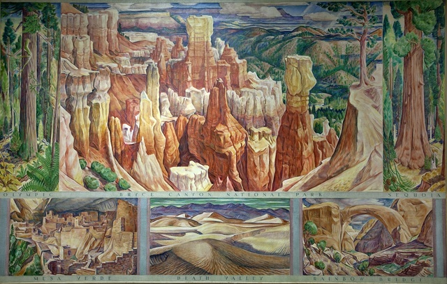 Mural: Themes of the National Parks (Olympic, Bryce Canyon National Park, Sequoia, Mesa Verde, Death Valley, and Rainbow Bridge), by David McCosh at the Department of Interior, Washington, D.C.
