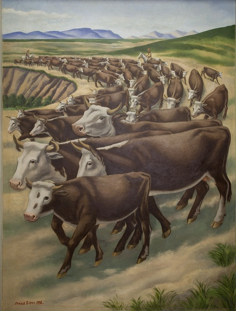 """Mural: """"Winter Roundup,"""" by Ernest Fiene at the Department of Interior, Washington, D.C."""