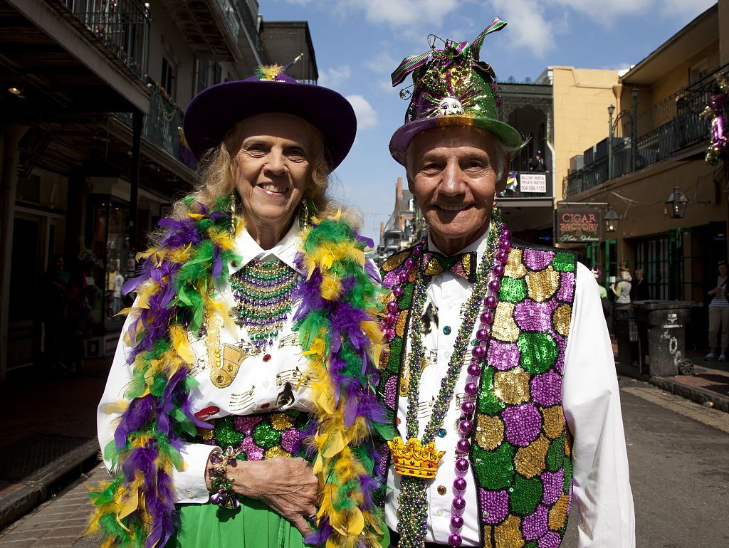 Pete and Helen Drago are all dressed up on Mardi Gras day 2011 in the French Quarter of New Orleans, Louisiana