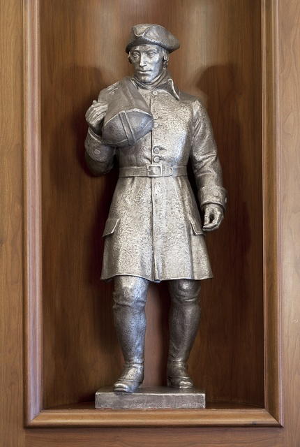 "Sculpture ""Foot Postman, Colonial, 1691-1775 by Berta Margulies at the Ariel Rios Federal Building, Washington, D.C."