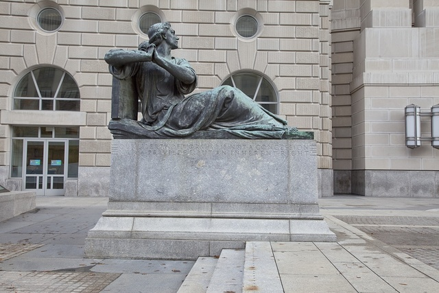 "Sculpture ""Liberty of Worship, Oscar S. Straus Memorial Fountain,"" by Adolph Alexander Weinman at the Environmental Protection Agency, Ronald Reagan Building, Washington, D.C."