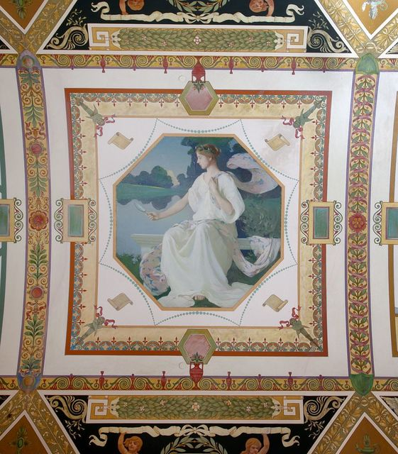 [South Corridor, Second floor. Mural depicting one of the three graces, Euphrosyne (Beauty), by Frank Weston Benson. Library of Congress Thomas Jefferson Building, Washington, D.C.]