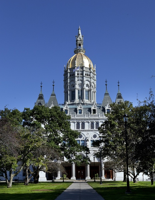 The Connecticut State Capitol is located north of Capitol Avenue and south of Bushnell Park in Hartford, Connecticut