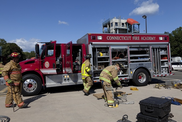 Training exercise at the Connecticut Fire Academy in Windsor Locks, Connecticut