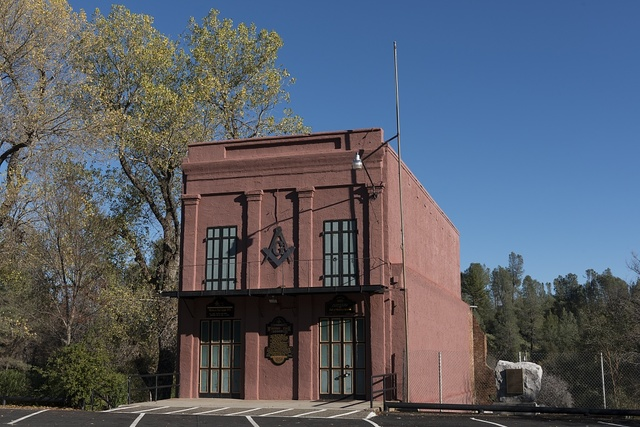 A Masonic lodge, the oldest in California, at Shasta State Historic Park in the now-deserted town of Shasta City, west of Redding, California